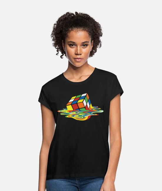 The Best Of T-paidat - Rubik's Cube Melted Colourful Puddle - Naisten oversized t-paita musta