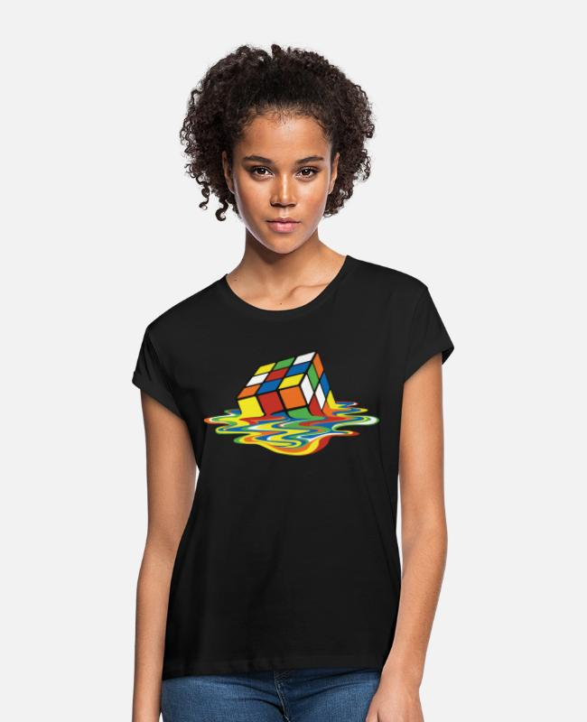 Design T-shirts - Rubik's Cube Melted Colourful Puddle - Oversize T-shirt dame sort