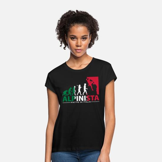 Climbing T-Shirts - ROCK CLIMBING EVOLUTION ALPINISTA FATTO IN ITALIA - Women's Loose Fit T-Shirt black