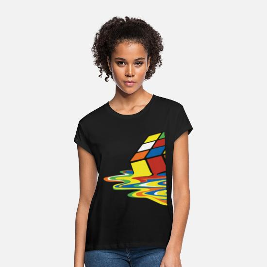 Geek T-shirts - Rubik's Cube Melted Colourful Puddle - Oversize T-shirt dame sort