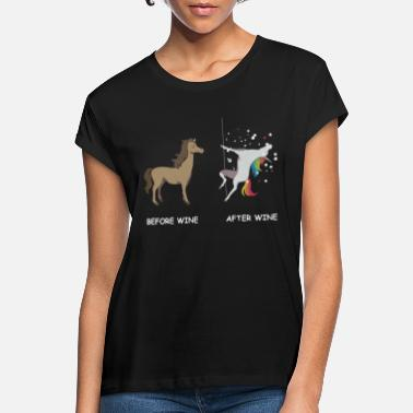 Wine Unicorn before wine and after wine - Women's Loose Fit T-Shirt