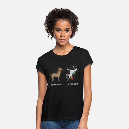 Unicorn T-Shirts - Unicorn before wine and after wine - Women's Loose Fit T-Shirt black