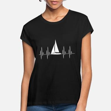 Ekg Heart for sailing gift sailboat ship ekg boat - Women's Loose Fit T-Shirt
