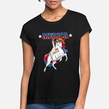 Stars And Stripes Merica Llama Riding Unicorn American Flag - Women's Loose Fit T-Shirt