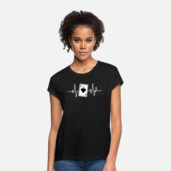 Gift Idea T-Shirts - Card Game Palpitations ECG Rummy Skat Gift - Women's Loose Fit T-Shirt black