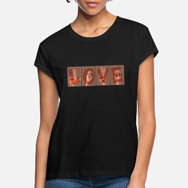 Letter-sign Hand lettering LOVE in sign alphabet, orange - Women's Loose Fit T-Shirt