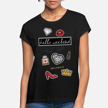 Weekend Smiley World Hello Weekend Fake Patches - Women's Loose Fit T-Shirt
