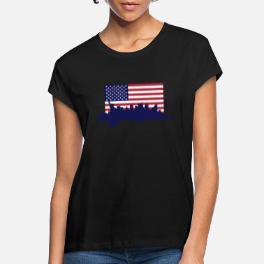 United States New York Skyline - United States Flag - Vrouwen oversized T-Shirt