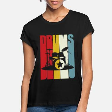 Girl Retro Drums Drummer Gift Drumming 70s 80s Vintage - Women's Loose Fit T-Shirt