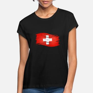 Swiss flag great gift for all CH fans - Women's Loose Fit T-Shirt