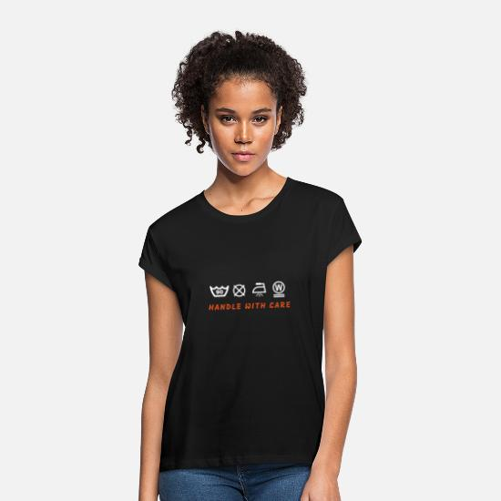 Urban People T-Shirts - HANDLE WITH CARE - Women's Loose Fit T-Shirt black