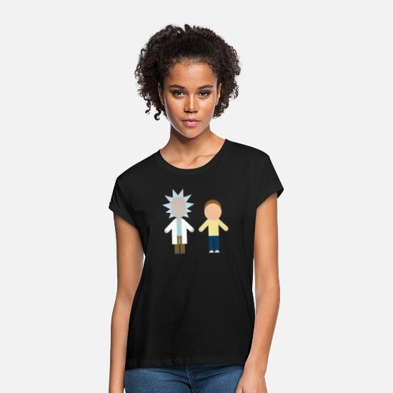Rick And Morty T-Shirts - Rick And Morty Serienhelden Chibi Stil - Frauen Oversize T-Shirt Schwarz