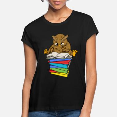 Sweet owl with books reading t-shirt - Women's Loose Fit T-Shirt