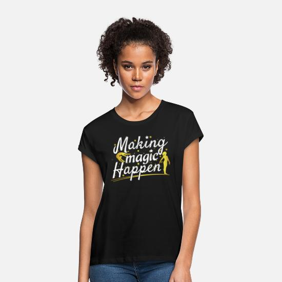 Quotes T-Shirts - Gymnastics Making Magic Happen Quote - Girl - Women's Loose Fit T-Shirt black