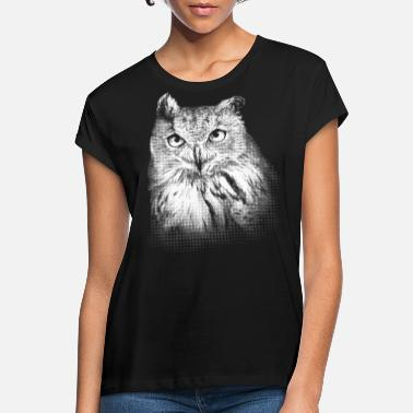Owl Eagle owl portrait black and white (for dark products) - Women's Loose Fit T-Shirt