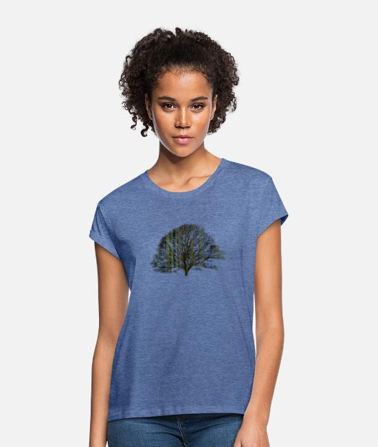 Earth T-Shirts - The tree and the earth - Women's Loose Fit T-Shirt heather denim