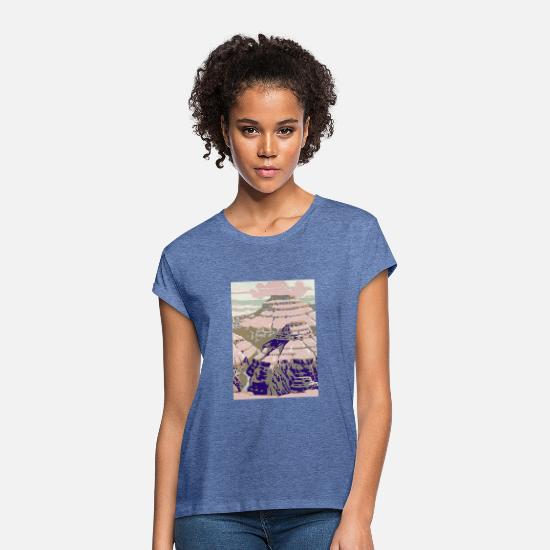 Flight T-Shirts - Rocky Mountains Vintage Travel Poster - Women's Loose Fit T-Shirt heather denim
