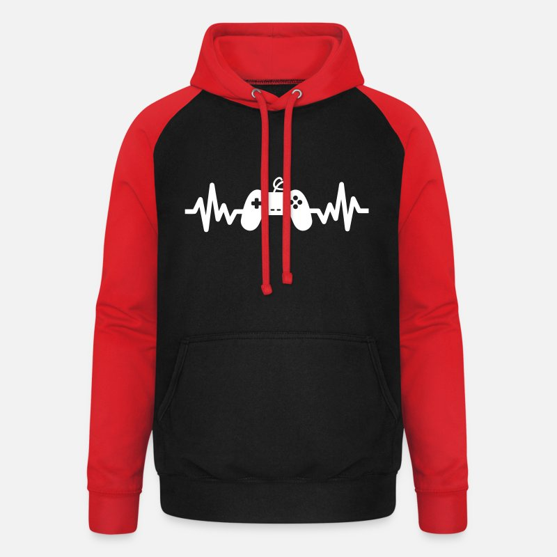 Gamer Sweat-shirts - Gaming is life - gamer - Console - Manette - Sweat à capuche baseball unisexe noir/rouge