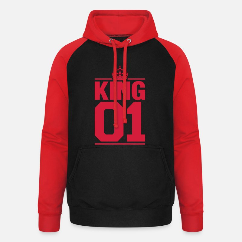 Couple Sweat-shirts - King 01 - Sweat à capuche baseball unisexe noir/rouge
