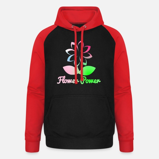 Garden Hoodies & Sweatshirts - flower power - Unisex Baseball Hoodie black/red
