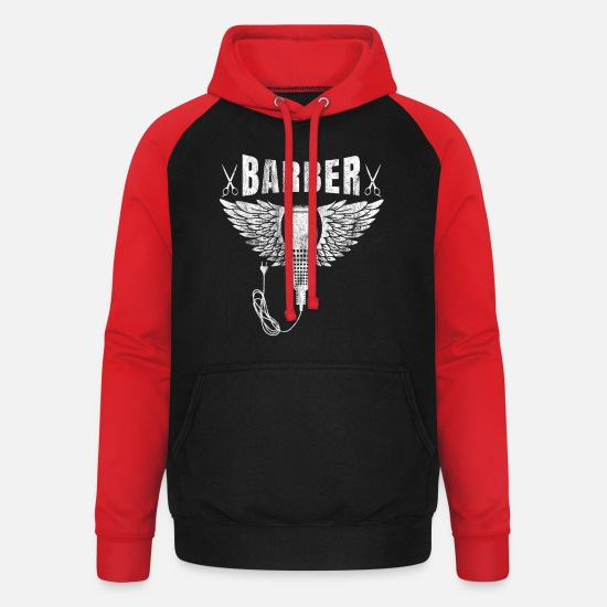 Quatuor Barbershop Sweat-shirts - Barber shop barbiers barbier chemise cadeau barbe - Sweat à capuche baseball unisexe noir/rouge