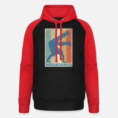 Breakdance Retro vintage stijl breakdance breakdancing hiphop - Unisex baseball hoodie