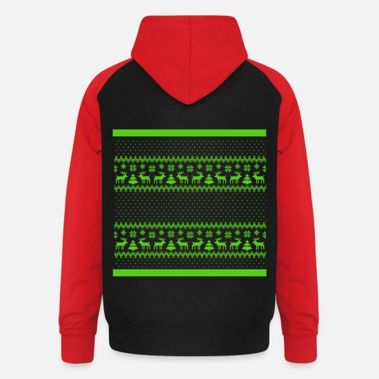 Christmas Hoodies & Sweatshirts - Ugly christmas - Unisex Baseball Hoodie black/red