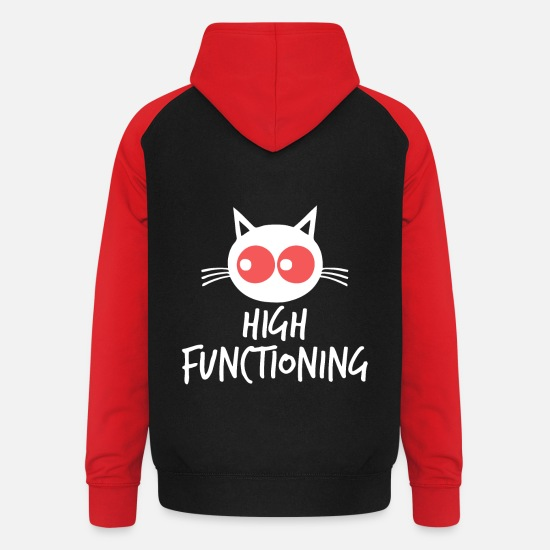 Joint Hoodies & Sweatshirts - Stoned cat with red eyes - Unisex Baseball Hoodie black/red