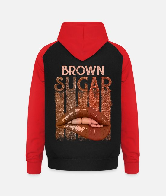 Brown Hoodies & Sweatshirts - Brown sugar - Unisex Baseball Hoodie black/red