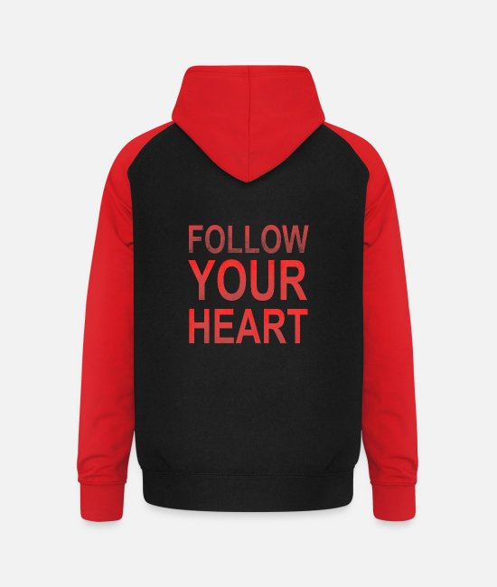 Red Hoodies & Sweatshirts - Follow Your Heart | Motivation grungy red - Unisex Baseball Hoodie black/red