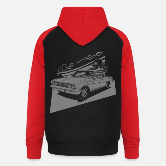 Bikes Hoodies & Sweatshirts - vintage car neg. - Unisex Baseball Hoodie black/red