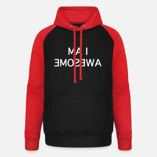 Beau Sweat-shirts - i am awesome - Sweat à capuche baseball unisexe noir/rouge