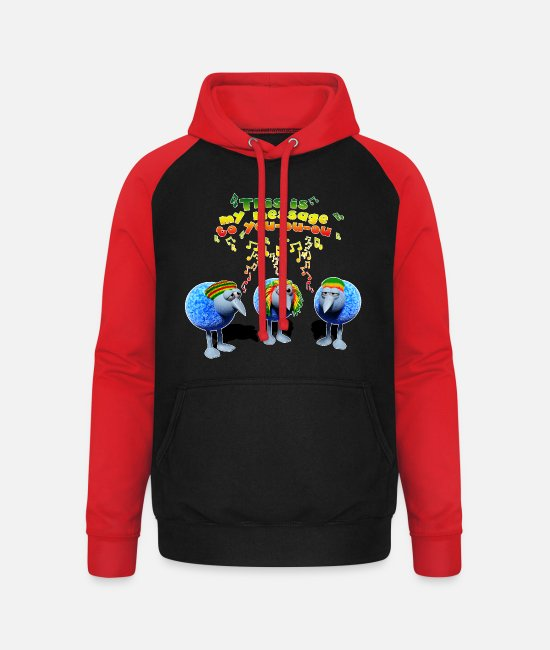 Rasta Pullover & Hoodies - three little RASTA birds - Unisex Baseball Hoodie Schwarz/Rot