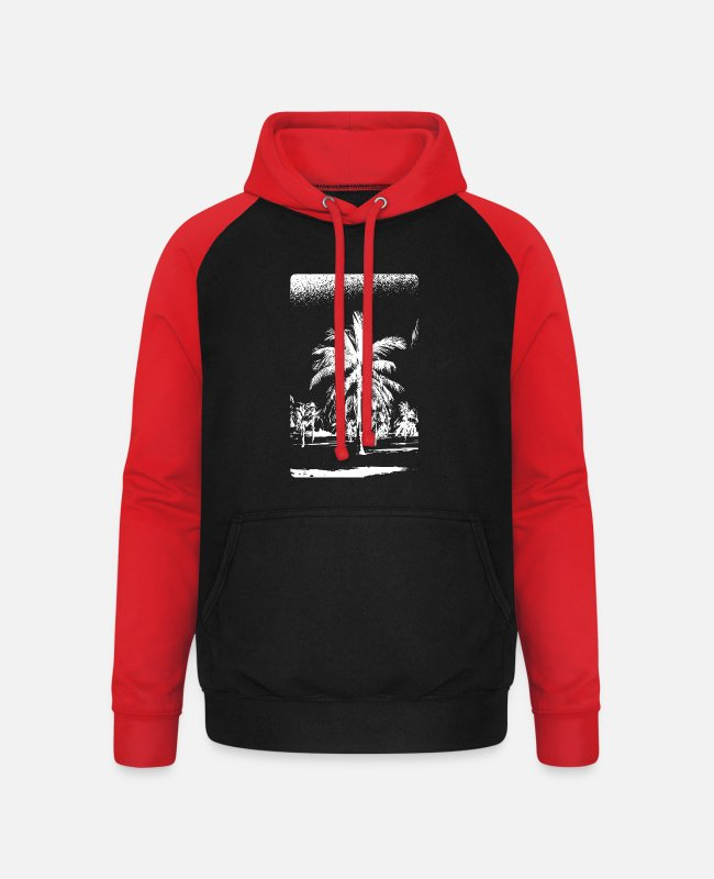Heat Hoodies & Sweatshirts - Palm trees palm Palma de Mallorca - Unisex Baseball Hoodie black/red