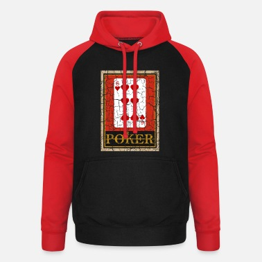 Lifestyle SIX OF HEARTS POKER PLAYING CARD GAME - Unisex Baseball Hoodie