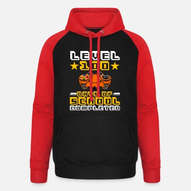 Commander Level 100 Days Of School Completed Awesome Game - Unisex Baseball Hoodie