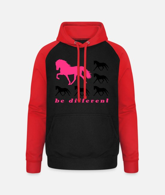 Be Different Pullover & Hoodies - be different - Unisex Baseball Hoodie Schwarz/Rot