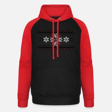Pattern Star pattern in the Norwegian style - Unisex Baseball Hoodie