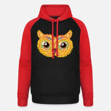 Jewelry abstract owl head made of floral shapes - Unisex Baseball Hoodie
