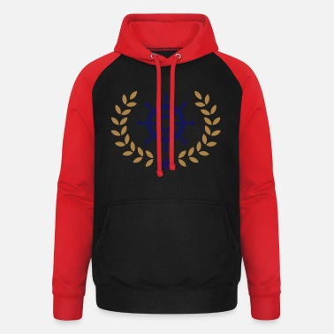 School Club Team Wreath ship's wheel, boat, star, yacht, club, team - Unisex Baseball Hoodie
