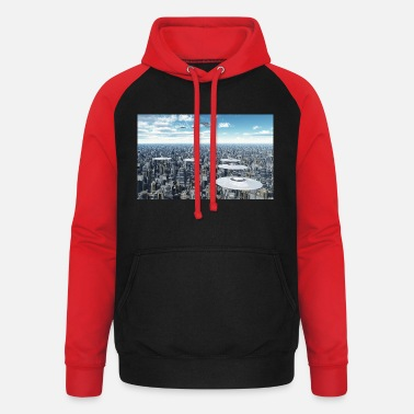Megacity Flying saucers over a megacity - Unisex Baseball Hoodie