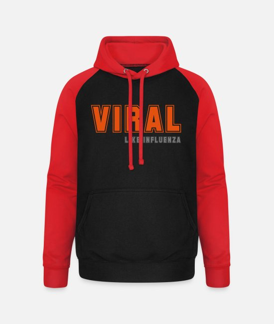 Nightlife Pullover & Hoodies - Viral like Influenza - Unisex Baseball Hoodie Schwarz/Rot