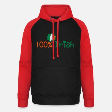 I Want To Marry Irish I Want To Have A Irish Girlfriend Irish Boyfriend Irish Husband Irish Wife Iri ♥ټ☘Kiss Me I'm 100% Irish-Irish Rule☘ټ♥ - Unisex Baseball Hoodie