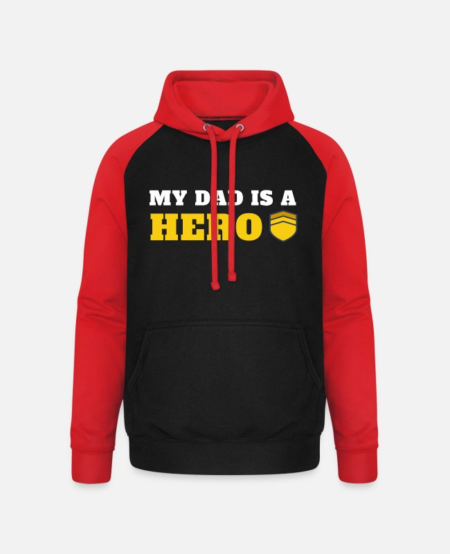 Gift Puserot ja hupparit - My dad is a Hero - Unisex baseball huppari musta/punainen