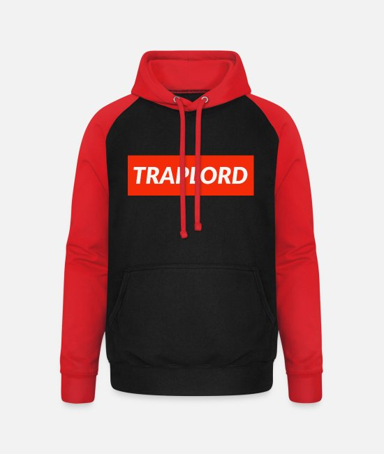Party Pullover & Hoodies - Traplord - Unisex Baseball Hoodie Schwarz/Rot