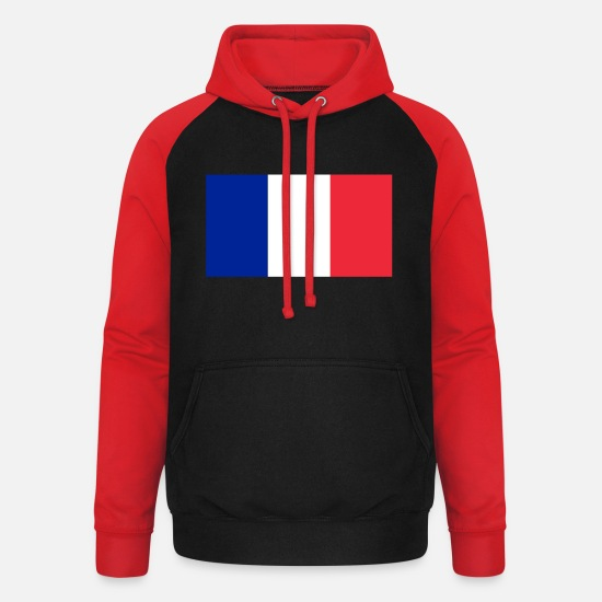 World Championship Hoodies & Sweatshirts - France flag - Unisex Baseball Hoodie black/red