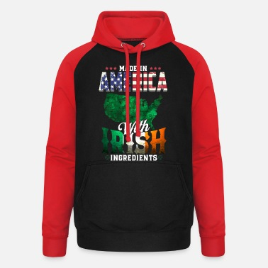 America Made in America with Irish Ingredients - Ireland - Unisex Baseball Hoodie