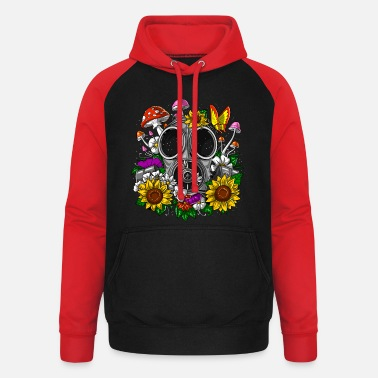 Mask Hippie Floral Gas Mask - Unisex Baseball Hoodie