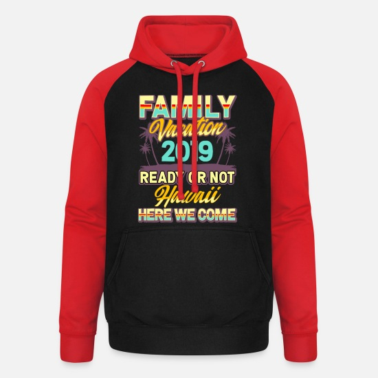 Group Hoodies & Sweatshirts - 2019 Hawaii family vacation fun - Unisex Baseball Hoodie black/red