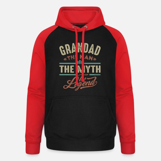 Grandad Hoodies & Sweatshirts - Grandad The Legend - Unisex Baseball Hoodie black/red